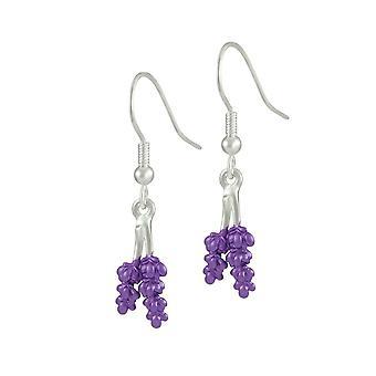 Eternal Collection Lavender Purple Enamel Silver Tone Flower Drop Pierced Earrings