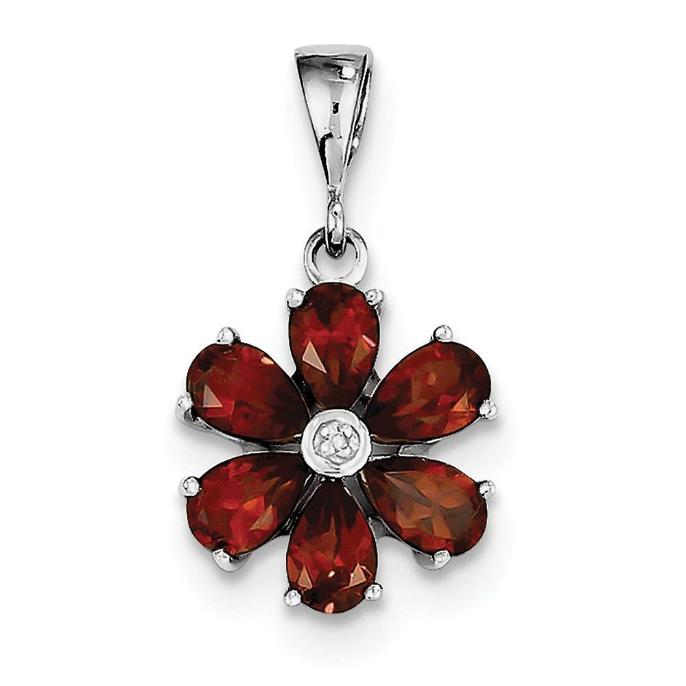 925 Sterling Silver Polished Open back Rhodium Garnet and Diamond Flower Pendant