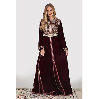 Lebssa hilda metallic embroidered occasion wear long sleeve dress and belt in rhubarb
