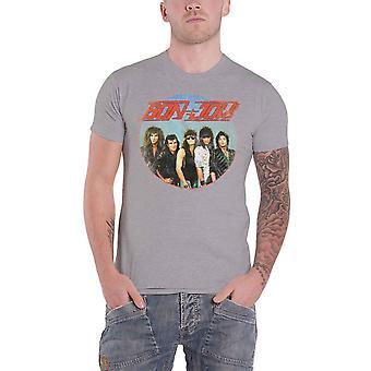 Bon Jovi T Shirt Band Shot Heavy Wash vintage Logo nouveau gris officiel pour homme