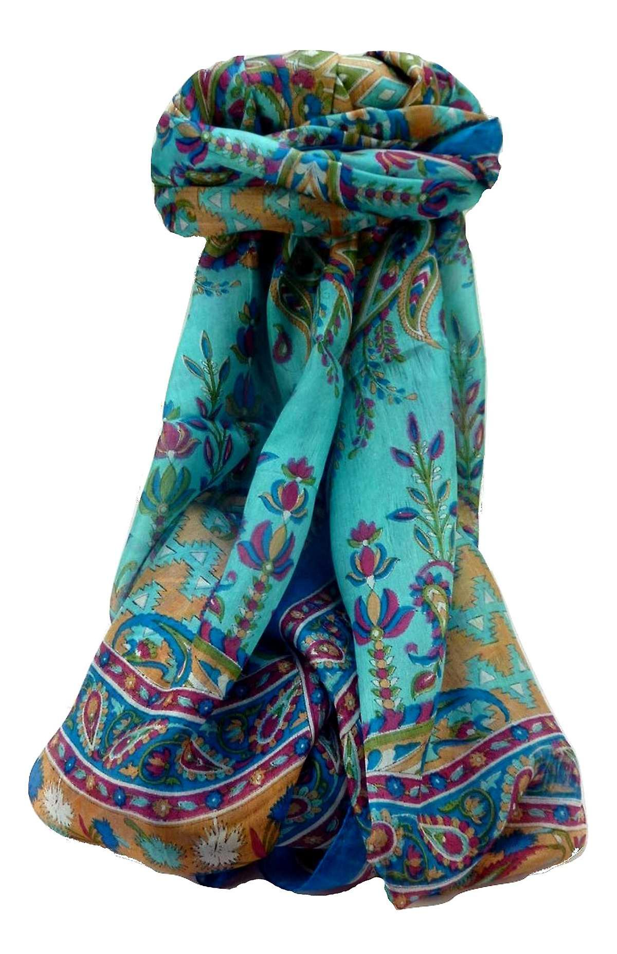 Mulberry Silk Traditional Long Scarf Alka Aqua by Pashmina & Silk