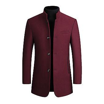 Allthemen Men's Stand Collar Thickened Warm Wool Autumn&Winter Overcoat