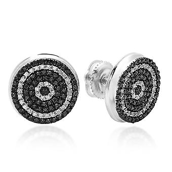 Dazzlingrock Collection 0.50 Carat (ctw) 10K Black and White Diamond Micro Pave Hip Hop Mens Stud Earrings 1/2 CT, White Gold