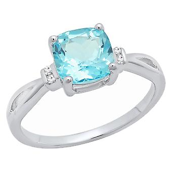 Dazzlingrock Collection Sterling Silver 7 MM Cushion Blue Topaz & Round Diamond Ladies Bridal Engagement Ring