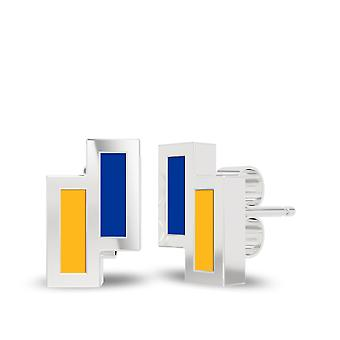 University Of Pittsburgh Sterling Silver Asymmetric Enamel Stud Earrings In Blue and Orange