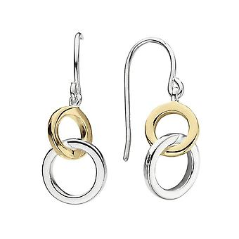 Dew Sterling Silver Linked Circle With Gold Plate Drop Earrings 6694GD021