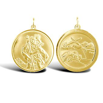Jewelco London Solid 9ct Yellow Gold Double Sided St Christopher Medallion Pendant
