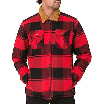 Animal Mens Chopper Tartan Long Sleeve Sherpa Lined Jacket Coat Top - True Red