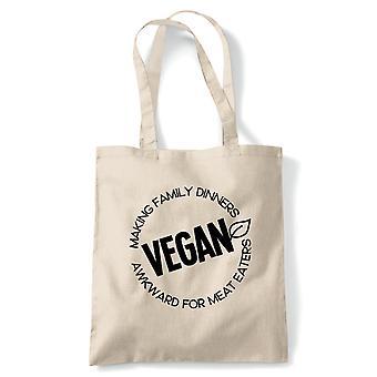 Vegan familie middager tote | Vegan livsstil lagre dyr ikke kjøtt meieri gratis | Gjenbrukbare shopping Cotton Canvas Long håndtert Natural shopper miljøvennlig mote