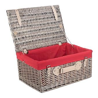 36cm Antique Wash Wicker Picnic Basket with Red Lining