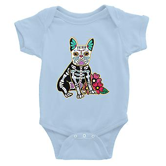 Frenchie Day Of Dead Funny Halloween Costume Cute Baby Bodysuit Gift Sky Blue