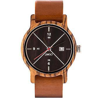 Watch D.W.Y.T DW-00201-5012 - Moero dater Wood Leather Brown man