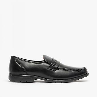 Roamers Mikey Mens Leather Slip On Apron Shoes Black