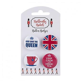 Union Jack Wear 4 British Pin Badges Filiżanka, Zachować spokój i pić herbatę, Bóg Save The Queen & Union Jack