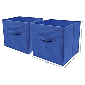 2 x Blue Large Foldable Square Canvas Storage Box Collapsible Fabric Cubes Kids Home