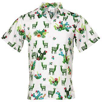 Funny Guy Mugs Men's Llama and Cactus Hawaiian Print Button Down Short Sleeve...