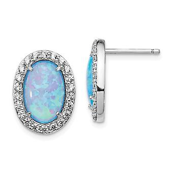 11.98mm Cheryl M 925 Sterling Silver Cubic Zirconia Lab Simulated Blue Opal Post Earrings Jewelry Gifts for Women