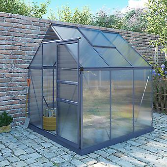 Charles Bentley 6 X 6.1ft Aluminium Frame Greenhouse 4mm Hollow Polycarbonate for Gardening Adjustable Roof Vents - Grey