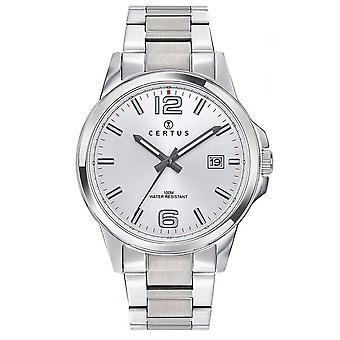 Sjekk Certus 616467-Dateur Steel sølv Dial hvite menn