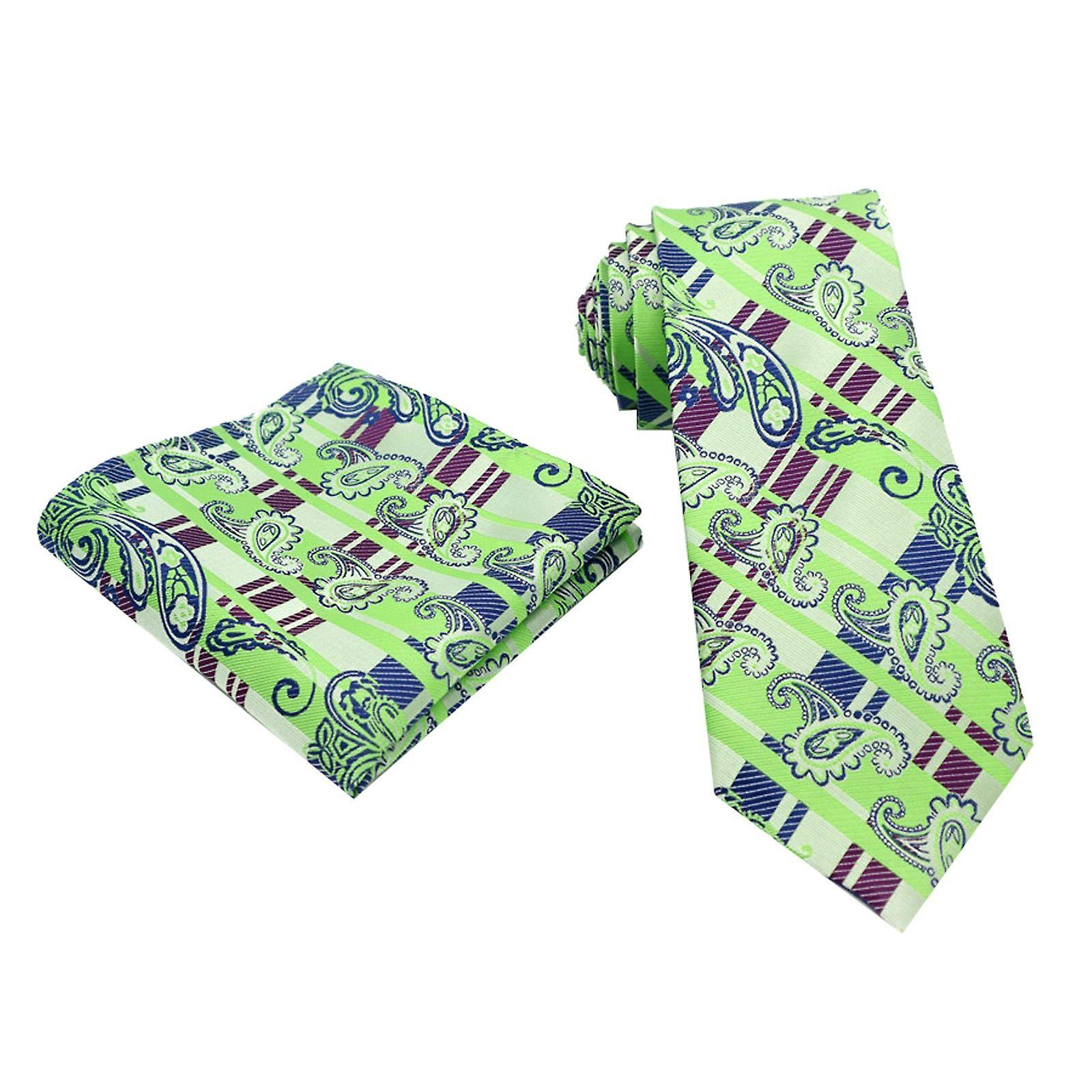 Light green & purple tartan paisley pocket square & tie