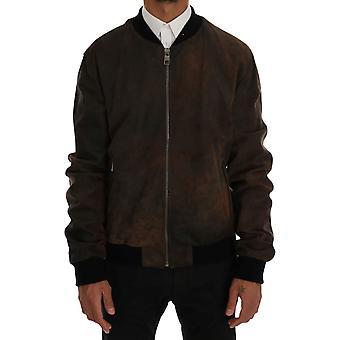 Dolce & Gabbana Brown Leather Bomber Zipper Jacket