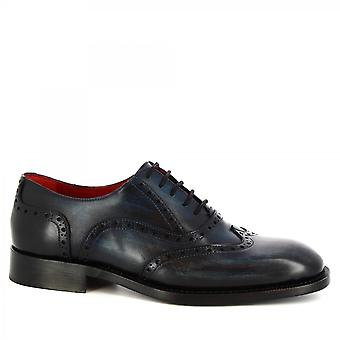 Leonardo Shoes Men-apos;s main classe brogues chaussures oxford en cuir de veau bleu