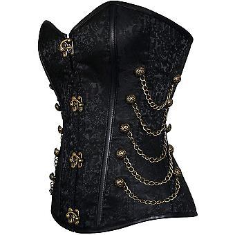 Charmian Women's Steampunk Gothic Spiral Steel Boned Brocade Waist Cincher Ov...