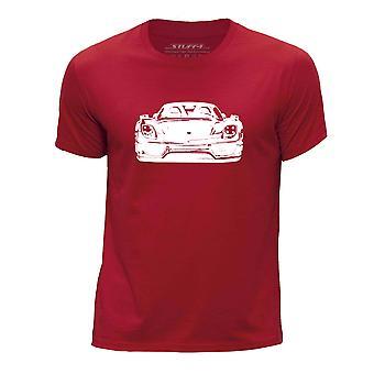 STUFF4 Chłopca rundy szyi samochód Shirt/Stencil Art / 918 Spyder czerwony