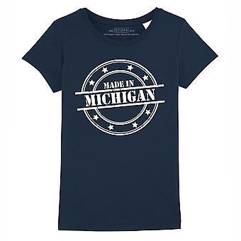 STUFF4 Girl's Round Neck T-Shirt/Made In Michigan/Navy Blue