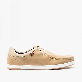 Base London Dougie Mens Suede Moccasin Shoes Taupe