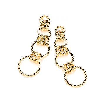 David Deyong Sterling hopea keltainen kulta kullattu diamond cut pitkä linkitetty pudota korvakorut