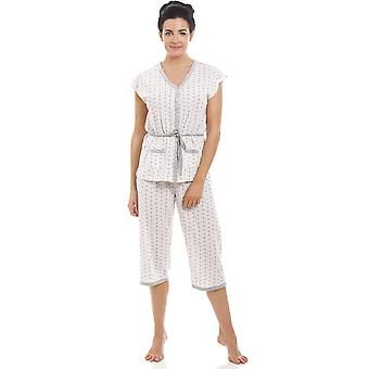 Camille Ladies katoen mix korte mouw Croped bodems pyjama's Set