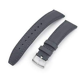 Strapcode leather watch strap 20mm or 22mm military grey kevlar finish watch strap, brushed