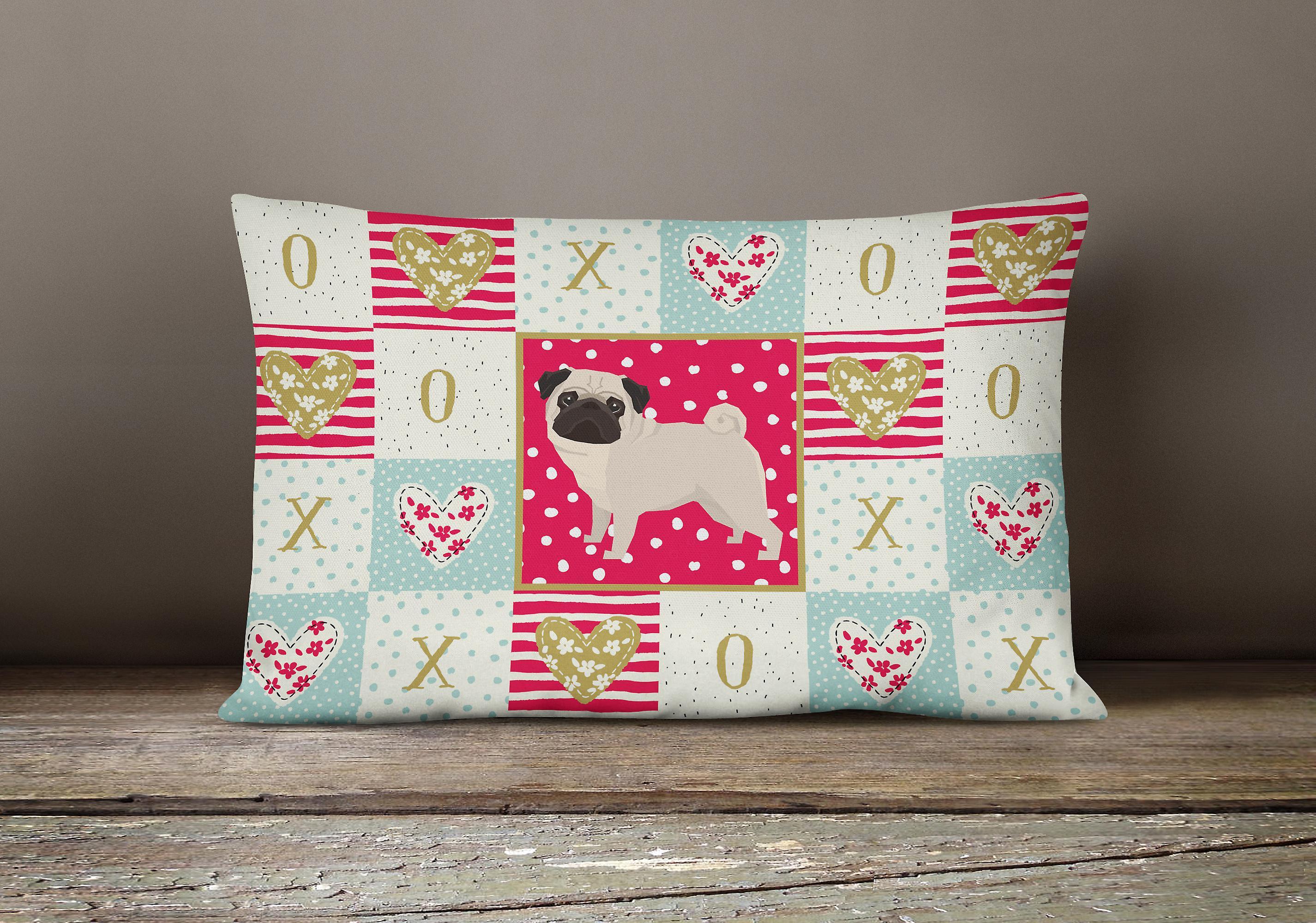 Carolines Treasures  CK5947PW1216 Pug Love Canvas Fabric Decorative Pillow - Dégagement 7s4Mu