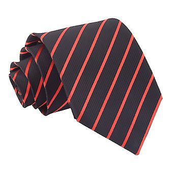Svart & röd enda Stripe klassiska slips