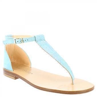 Leonardo Shoes Women's handmade low t-strap sandals in light blue suede leather