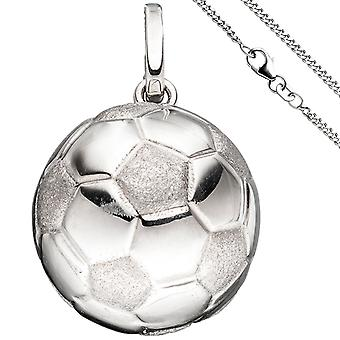 Children trailer soccer 925 Silver football pendant with chain 42 cm