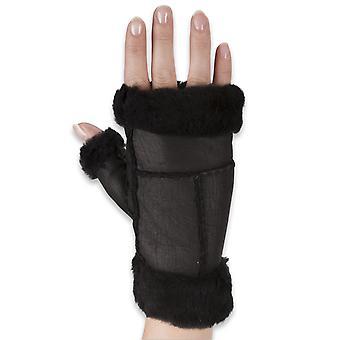 Nordvek Womens Sheepskin mănuși fără degete - încheietura mâinii elegant și manșetă degetul # 309-100
