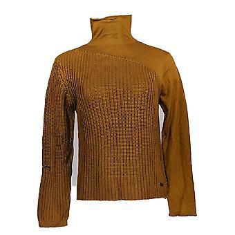 Peace Love World Women's Sweater Mock Neck Rust Brown A372733