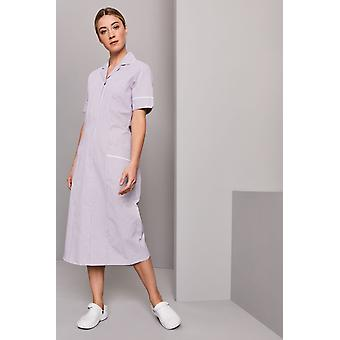 SIMON JERSEY Striped Healthcare Dress, Lilac Stripe With White Trim