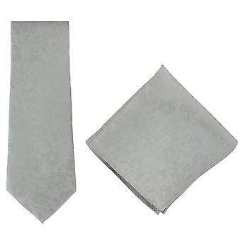 Michelsons di Londra sottile cravatta di seta floreale e Set Square Pocket - argento
