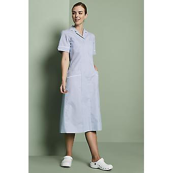 SIMON JERSEY Striped Healthcare Dress, Hospital Blue Stripe With White Trim