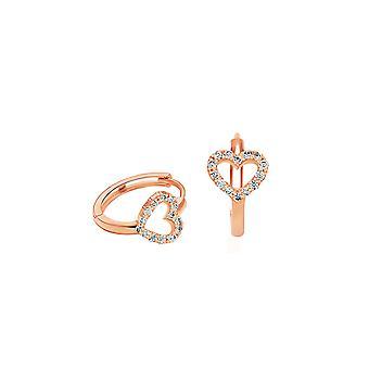Baby Cercei Hoops Diamonds Heart 18K Aur