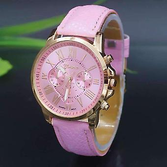 Rose gold classic geneva watch in rosy pink
