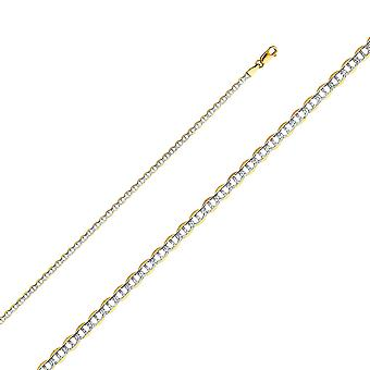 14k Yellow Gold Flat Mariner 2.7mm Lite With Rhodium Pave Chain Necklace Jewelry Gifts for Women - Length: 16 to 24