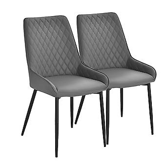 HOMCOM Set Of 2 Quilted PU Leather Dining Chairs w/ Metal Frame 4 Legs Foot Caps Home Seating Modern Stylish Executive Dark Grey
