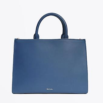 Paul Smith  - Leather Double Zip Tote Bag With 'Swirl' Trim - Blue