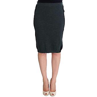 חצאית מיזוג ירוק צמר עיפרון--SIG3779077