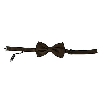 Dolce & Gabbana Brown Polka Dots Silk Adjustable Neck Papillon Men Bow Tie -- FT10060784