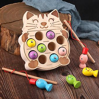 Preschool Wooden Montessori Toys - Magnetic Fishing Game - Baby Puzzle Early Education Teaching